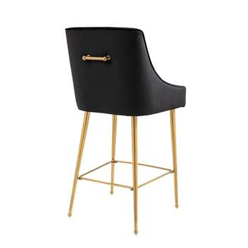 Mason Bar Stool - Black - Brushed Gold Legs (H107 x W52 x D57cm)