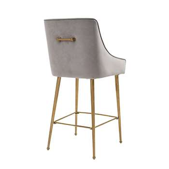 Mason Bar Stool - Dove Grey - Brushed Gold Legs (H107 x W52 x D57cm)