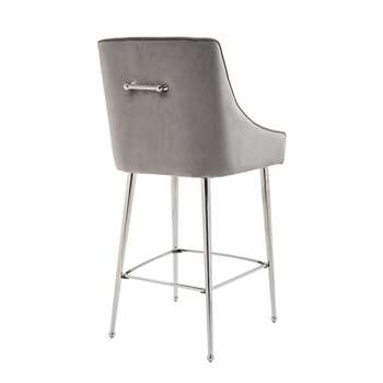 Mason Bar Stool - Dove Grey - Shiny Silver Legs (H107 x W52 x D57cm)