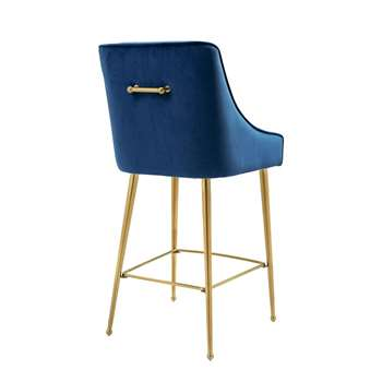 Mason Bar Stool - Navy Blue - Brushed Gold Legs (H107 x W52 x D57cm)