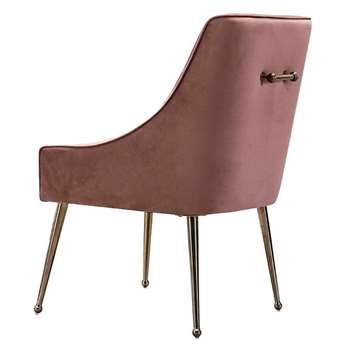 Mason Dining Chair Blush Pink - Brushed Gold Legs (H86 x W56 x D61cm)