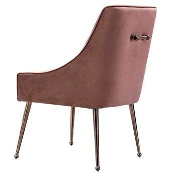 Mason Dining Chair Blush Pink - Rose Gold Legs (H86 x W56 x D61cm)