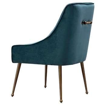 Mason Dining Chair Peacock - Brushed Gold Legs (H86 x W56 x D61cm)