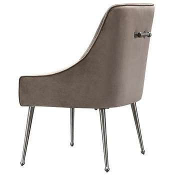 Mason Dining Chair Taupe - Brushed Silver Legs (H86 x W56 x D61cm)