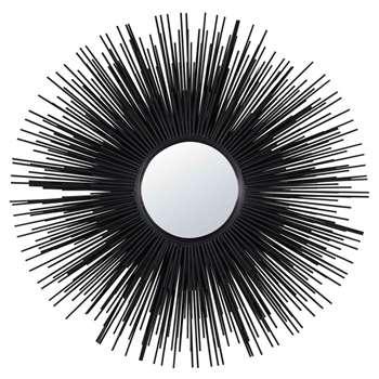 MASSALA Round Black Metal Mirror (H101 x W101 x D8cm)