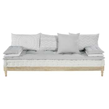 MATALA Two-tone cotton and sculpted mango wood bench (69 x 190cm)