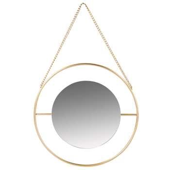 MATERA - Round Matte Gold Metal Mirror (H12 x W12 x D0.5cm)