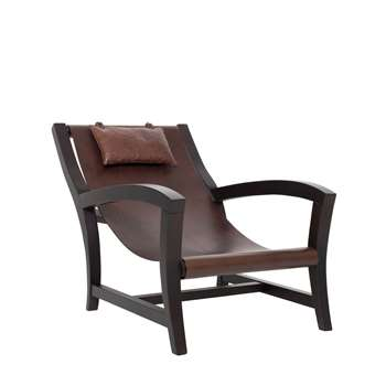 Matì - Elba Beech Wood & Leather Armchair (70 x 60cm)
