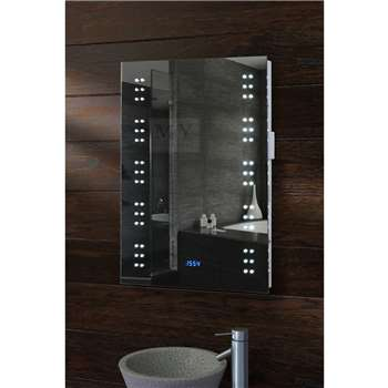 Matrix Illuminated LED Bathroom Mirror with Clock (H70 x W50 x D5cm)