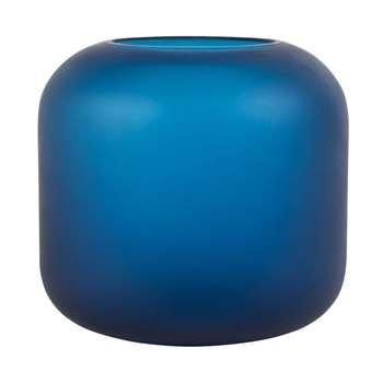 Matte Blue Glass Vase (H16 x W17 x D17cm)