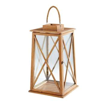 MATTHEW Walnut and Glass Lantern (H69 x W40 x D40cm)