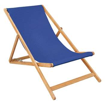 Maui Oak Deckchair With Azure Blue Cotton Sling (H125 x W62.5 x D75cm)