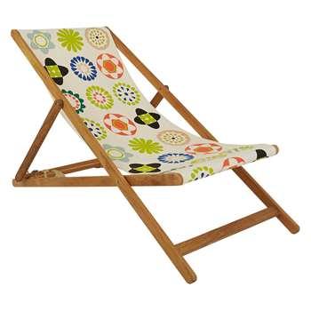 Maui Oak Deckchair With Multi-Coloured Floral Patterned Sling (H125 x W62.5 x D75cm)