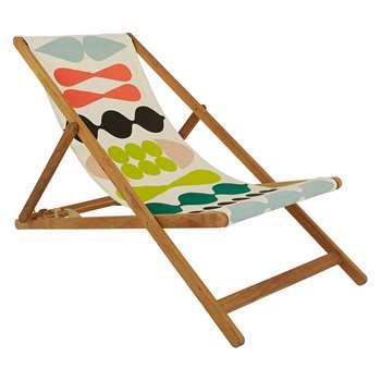 Maui Oak Deckchair With Multi-Coloured Patterned Sling (H125 x W62.5 x D75cm)