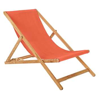 Maui Oak Deckchair With Warm Red Cotton Sling (H125 x W62.5 x D75cm)