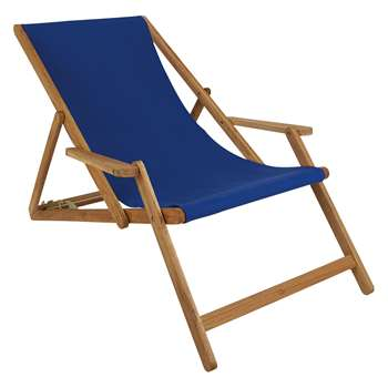Maui Solid Oak Lounger With Azure Cotton Sling (H125 x W72.5 x D75cm)