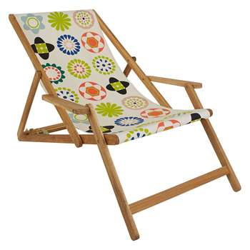 Maui Solid Oak Lounger With Multi-Coloured Floral Patterned Sling (H125 x W72.5 x D75cm)