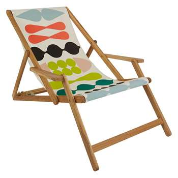 Maui Solid Oak Lounger With Multi-Coloured Patterned Sling (H125 x W72.5 x D75cm)