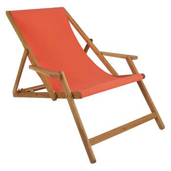Maui Solid Oak Lounger With Warm Red Cotton Sling (H125 x W72.5 x D75cm)