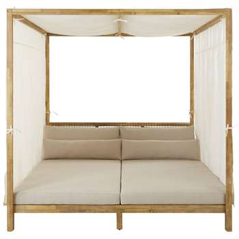 MAUPITI - Resin Wicker and Light Taupe Canvas Outdoor 4-Poster Bed (H195 x W195 x D194cm)