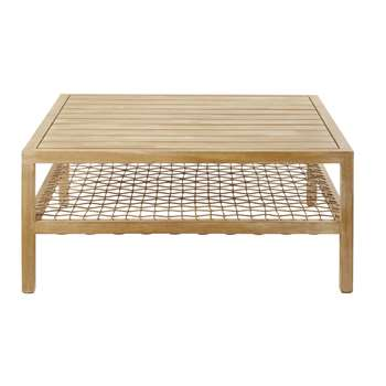 MAUPITI Solid Acacia and Resin Wicker Garden Coffee Table (H40 x W90 x D90cm)
