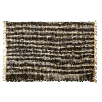 MAURICE Woven Rug in Black Cowhide and Jute (H160 x W230 x D2cm)