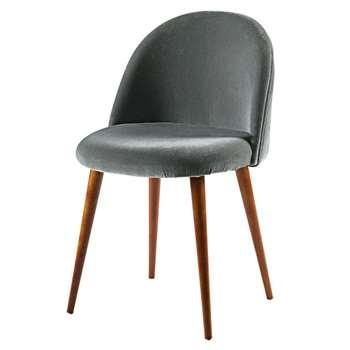 MAURICETTE Anthracite Velvet Vintage Chair (76 x 50cm)