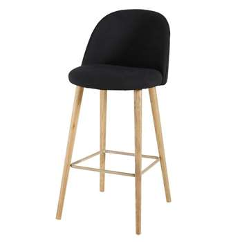 MAURICETTE Black Vintage Bar Chair with Solid Ash (107 x 51cm)