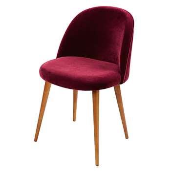 MAURICETTE Burgundy Velvet Vintage Chair (76 x 50cm)