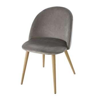 MAURICETTE BUSINESS - Professional grey velvet and oak-imitation metal vintage chairs x 2 (H78 x W50 x D55cm)