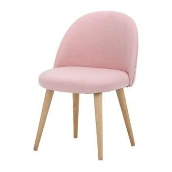 MAURICETTE Children's pink fabric and solid birch vintage armchair