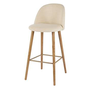MAURICETTE Ecru Vintage Bar Chair with Solid Ash (85 x 279cm)