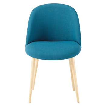 MAURICETTE Fabric and solid birch vintage chair in petrol blue
