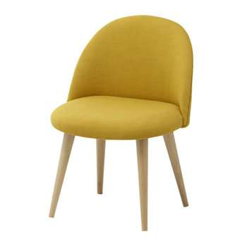 MAURICETTE Fabric and solid birch vintage child's chair in yellow