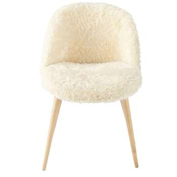 MAURICETTE Ivory Faux Fur and Birch Vintage Chair (H76 x W50 x D50cm)