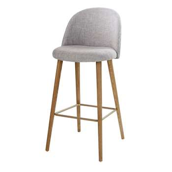 MAURICETTE Light Grey Marl and Ash Vintage Bar Chair (H107 x W51 x D59cm)