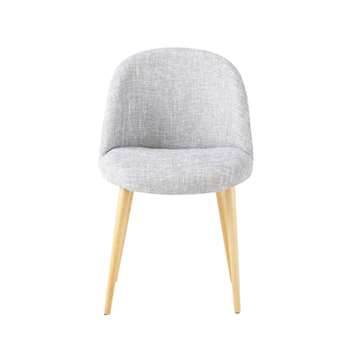 MAURICETTE Light Grey Marl and Birch Vintage Chair (H76 x W50 x D50cm)