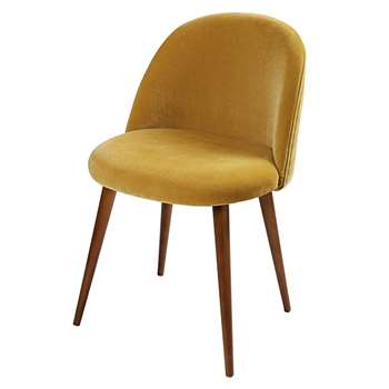 MAURICETTE Mustard Yellow Velvet and Birch Vintage Chair (H76 x W50 x D50cm)