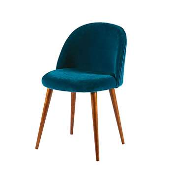 MAURICETTE - Peacock Blue Velvet Vintage Chair with Solid Birch (H76 x W50 x D50cm)