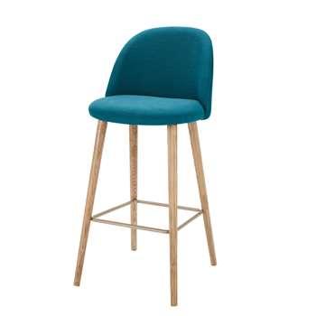 MAURICETTE Petrol Blue Fabric Vintage Bar Chair (107 x 51cm)