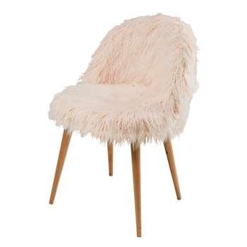 MAURICETTE Pink Faux Fur Vintage Chair (76 x 50cm)
