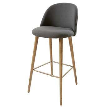 MAURICETTE Vintage Bar Chair in Anthracite Grey Fabric (107 x 51cm)