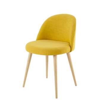 MAURICETTE Yellow Vintage Chair with Solid Birch (H76 x W50 x D50cm)