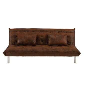 MAX Brown microsuede 2-seater sleeper sofa (80 x 183cm)