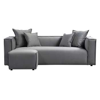 Max Three Seat Corner Sofa - Dove Grey (H69 x W223 x D95cm)