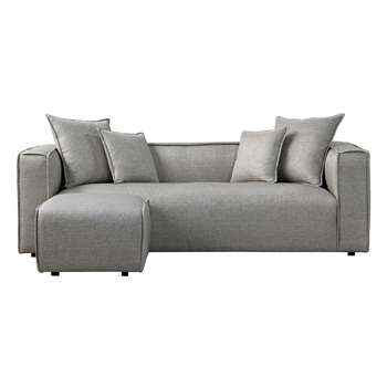 Max Three Seat Corner Sofa - Grey (H69 x W223 x D95cm)