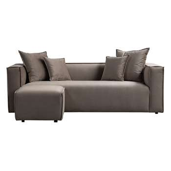 Max Three Seat Corner Sofa - Taupe (H69 x W223 x D95cm)