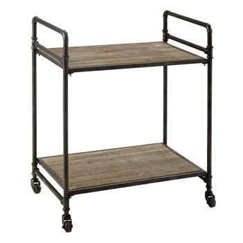 MAXIM - Metal and Wood Trolley (H75 x W64 x D41cm)