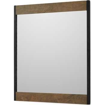 Maxine Wall Mirror, Mango Wood & Black (H58 x W50 x D2cm)