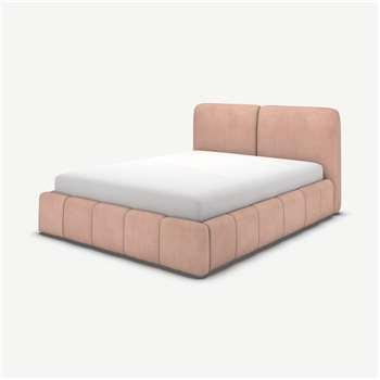Maxmo King Size Ottoman Storage Bed, Heather Pink Velvet (H101 x W174 x D227cm)